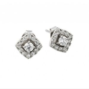Silver 925 Rhodium Plated CZ Square earrings